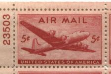 Buy 1946 5c Air Mail DC-4 Mint, Never Hinged Plate Block Serial Bold Red Color!