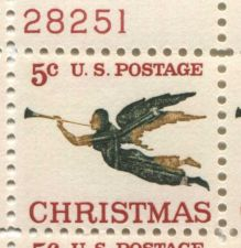 Buy 1965 5c Christmas Angel Blowing Horn, Never Hinged Plate Block Nice Look!
