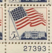 Buy 1963 5c US Flag 50 Star White House Mint, Never Hinged Plate Block Serial Nice