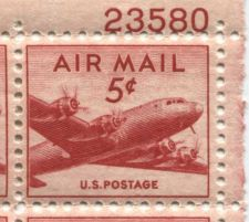 Buy 1946 5c Air Mail DC-4 Mint, Never Hinged Plate Block Serial Bold Smaller Size!