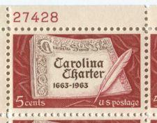 Buy 1963 5c Carolina Charter 1663-1963 Mint, Never Hinged Plate Block Serial Nice