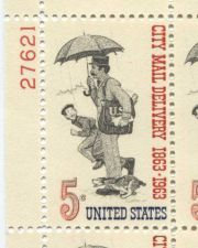 Buy 1963 5c City Mail Normal Rockwell Drawing Serial Mint Plate Block 4 Stamps