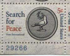 Buy 1967 5c Search for Peace Lions Int'l Mint, Never Hinged Plate Block Serial Nice