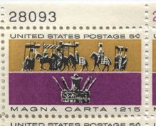 Buy 1965 5c Magna Carta 1215 Mint, Never Hinged Plate Block 2 Serials Nice Odd Color