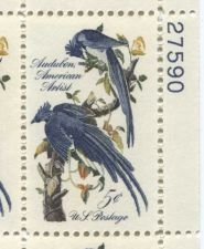 Buy 1963 5c Audubon Columbian Jay American Artist Serial Mint Plate Block 4 Stamps