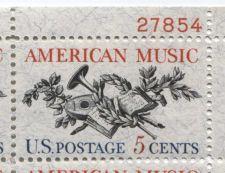 Buy 1965 5c American Music Mint, Never Hinged Plate Block Serial Nice Odd Paper
