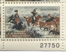 Buy 1963 5c Charles M. Russell American Artist Serial Mint Plate Block 4 Stamps