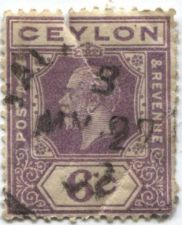 Buy 1922 Ceylon 6c KGV Violet Used Torn Creased Cancelled 1927