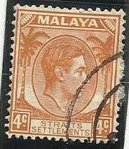 Buy MALAYA STRAITS SETTLEMENTS SG280 1938 4c ORANGE DIE