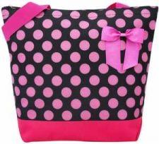 Buy Black with Big Pink Polka Dots Tote Bag-NWT