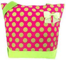 Buy Pink with Big Lime Polka Dots Tote Bag-NWT