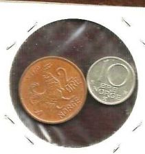 Buy Norway Norwegian 2 Ore 1970 + 10 Ore 1990