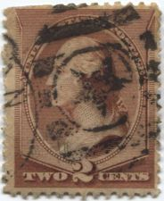 Buy 1883 2c Washington Red Brown Fancy Cancelled Star and Bars Very Nicely aged!