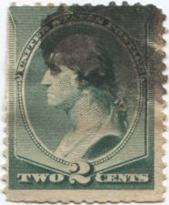 Buy 1887 2c Washington Green Cancelled Smudged Fine Slight Adhesive Residue Hinged