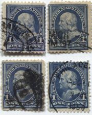 Buy 1894 5c U.S. Regular Issue 1¢ Franklin Fine Used unhinged stamps x4