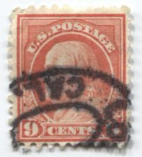 "Buy 1916 9c Ben Franklin Perf 10 Used Cancelled ""Los...Cal."" Good Rare Stamp Look!"