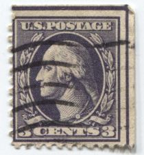 Buy 1918 3c Washington Stamp Good Used Wave Cancelled Straight Edge Top & Right