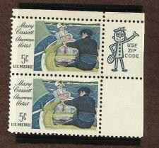 Buy Mary Cassat American Artist Scott 1322 block of 2 1966