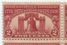 Buy 1926 2c Sesquicentennial Exposition Liberty Bell Fine Block 4 Connected Mint NH