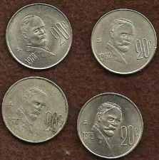 Buy Mexico Four (4) 20 Centavos 1975, 1977, 1978, 1980