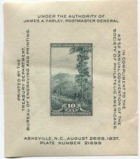 Buy 1937 10c Great Smoky Mountains Souvenir Stamp Sheet 1 Stamp Imperforate Farley