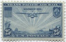 Buy 1935 25c Trans-Pacific Air Mail Blue China Clipper Steam and Sail Boats Mint NH