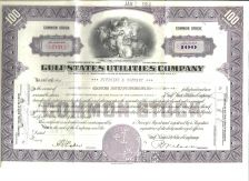 Buy 100 Shares Gulf States Utility Company Stock Certificate