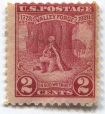 Buy 1928 2c Washington at Prayer Valley Forge 1778-1928 Unused Mint Fair Centering