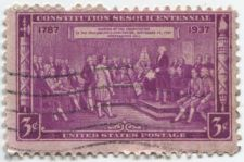 Buy 1937 3¢ Constitution Sesquicentennial Cancelled Stamp Used Good Condition Wave