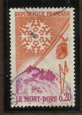 Buy FRANCE # 1002 MONT-DORE SNOWFLAKE and CABLE CAR 1965
