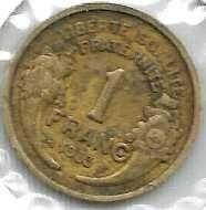 Buy 1933 France 1 Franc Aluminum Bronze World Coin Cornucopias KM88