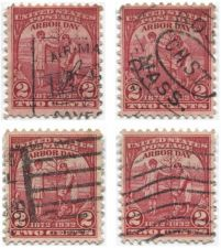 Buy 1932 2c Arbor Day Red 4 Stamps Used Various Cancellations Air Mail, Waves, Bars