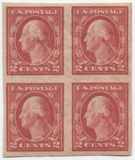 Buy 1916 2c George Washington Red Block of 4 Connected Imperforate Type 1 MNH