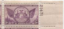 Buy 1935 3c Michigan Centenary Plate Block of 4 Connected Mint NH Upper R Corner