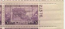Buy 1935 3c Oregon Territory Plate Block of 4 Connected Mint NH Upper R Corner Line