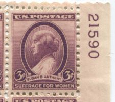 Buy 1935 3c Susan B. Anthony Plate Block of 4 Connected Mint NH Upper R Corner