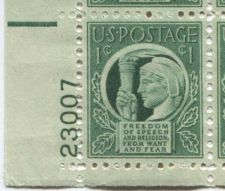 Buy 1943 1c Four Freedoms Plate Block of 4 Connected Mint NH Lower L Corner