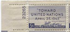 Buy 1945 5c UN Peace Conference Plate Block of 4 Connected Mint NH Upper L Corner