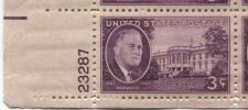 Buy 1945 3c FDR and White House Plate Block of 4 Connected Mint NH Lower L Corner
