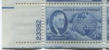 Buy 1945 5c FDR and Globe Plate Block of 4 Connected Mint NH Lower L Corner