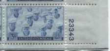 Buy 1945 3c US Navy Plate Block of 4 Connected Mint NH Lower Right Corner