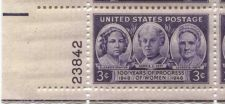 Buy 1948 3c Progress of Women Block of 4 Connected Mint Never Hinged Lower L Corner