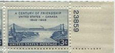 Buy 1947 3c Century of Friendship US-Canada Block of 4 Connected MNH Upper R Corner