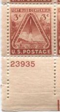 Buy 1948 3c Fort Bliss Plate Block 4 Connected Mint Never Hinged Lower Left Corner