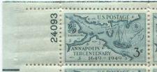 Buy 1949 3c Annapolis Tercentenary Block 4 Connected Mint NH Upper Left Corner