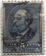 Buy 1888 5c Unwatermarked Garfield Indigo Fine Used hinged stamp Rare! CV $11.00+