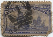 Buy 1893 4c Fleet of Columbus Fine Used hinged stamp Rare! CV $6.75+