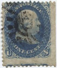 Buy 1861 1c Franklin Good Used unhinged stamp Rare! Sheet Edge! CV $57.50+