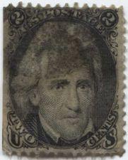 Buy 1863 2c Jackson Good Used unhinged stamp Rare! Sheet Edge! CV $40.00+