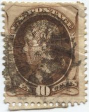Buy 1873 10c Jefferson Fine Fancy Lightly Cancelled Used unhinged Rare! CV $22.50